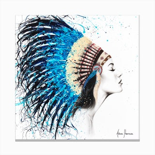 Her Feathers   Square Canvas Print