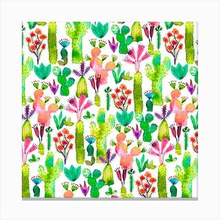 Cacti Garden Square Canvas Print