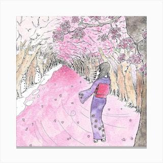 Cherry Blossom Flurry Square Canvas Print