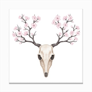 Blooming Deer Skull Canvas Print