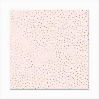 Dotted Gold And Pink Square Canvas Print