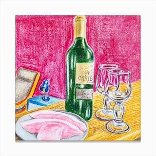 Ham And Wine Canvas Print