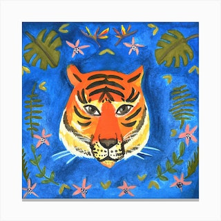 Eye Of The Tiger Square Canvas Print