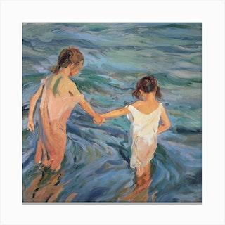 Children In The Sea 1909 Canvas Print
