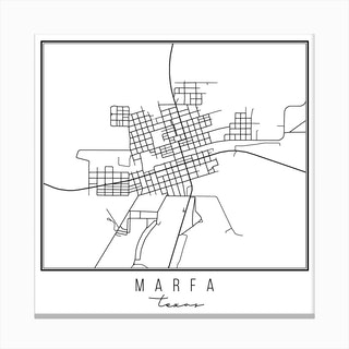 Marfa Texas Street Map Canvas Print