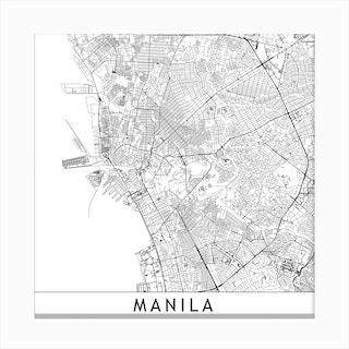Manila Map Canvas Print