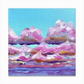 Pink Clouds Square Canvas Print