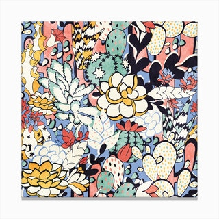 Blue Sky Succulents Canvas Print