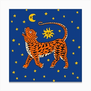 Tiger Temple Stars Blue Square Canvas Print