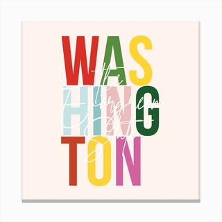 Washington The Evergreen State Color Canvas Print