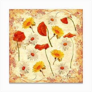 Wild Flowers Vintage Square Canvas Print