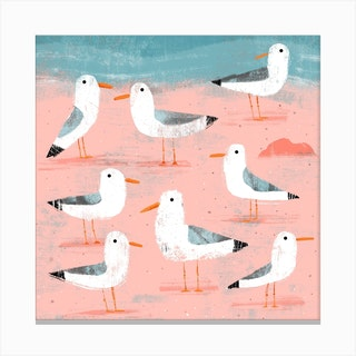 Seagulls On The Shore 2 Square Canvas Print