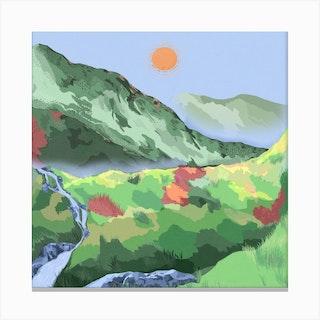 Sunny Wilderness Square Canvas Print