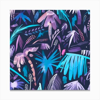 Brushstrokes Tropical Palms Navy Square Canvas Print