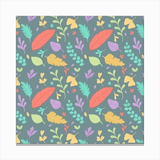 Nature Leaves Pattern Square Canvas Print