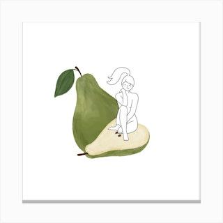 Pear Girl Square Canvas Print