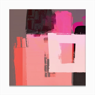 Abstract Composition In Orange Pink Canvas Print