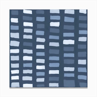 Painted Color Block Window Pane In Blue Canvas Print