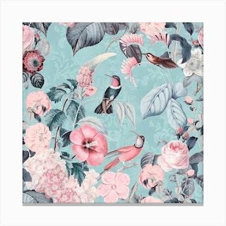 Hummingbirds Paradise Turquoise Canvas Print