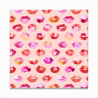 Sweet Kisses Pink Lips Square Canvas Print