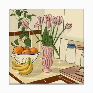 Kitchen Still Life With Pink Tulips Square Canvas Print