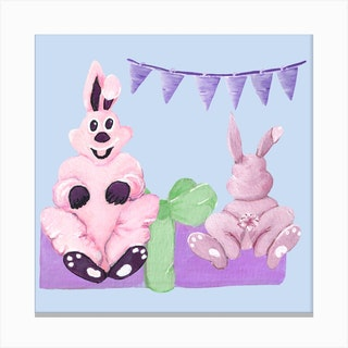 Sweet Easter Party Square Canvas Print