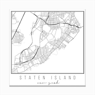 Staten Island New York Street Map Canvas Print