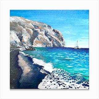 Black Sand Beach Square Canvas Print