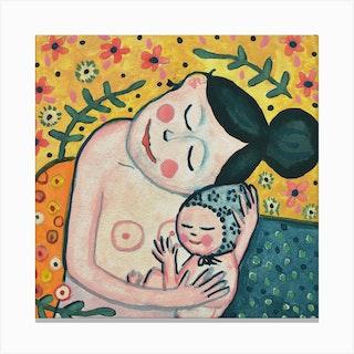 Gustav Klimt'S Motherhood Square Canvas Print