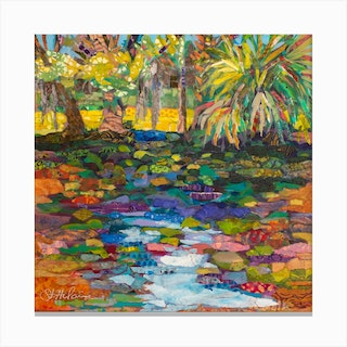 Peaceful Landscape In Florida With Palm Trees Square Canvas Print