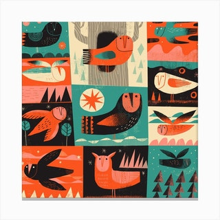 Owls 3 Square Canvas Print