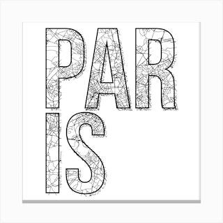 Paris Street Map Typography Square Canvas Print