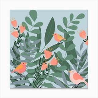 Summer Birds Square Canvas Print