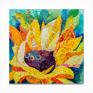 Sunny Sunflower Collage Paint Square Canvas Print