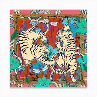Cream Tigers Bamboo Square Canvas Print