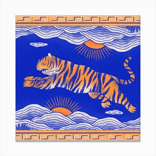 The Tiger And The Mountains Square Canvas Print