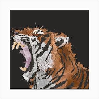 Roaring Tiger Square Canvas Print