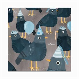 Pigeon Party Canvas Print