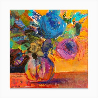 Abstract Collage Flower Arrangement  Square Canvas Print