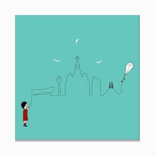Liverpool Skyline Kite Green Canvas Print