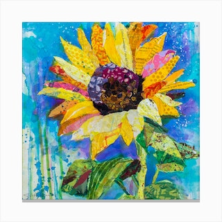 Yellow Tuscan Sunflower And Blue Sky Square Canvas Print