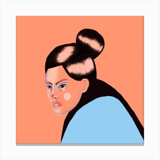 Asian Girl Square Canvas Print