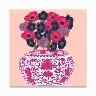 Pink Chinoiserie Square Canvas Print