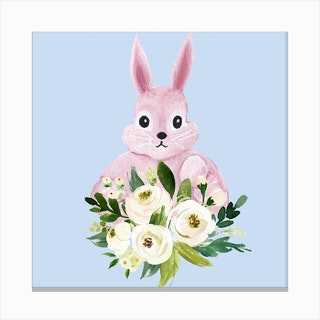 Bunny And Flower Wreath Square Canvas Print