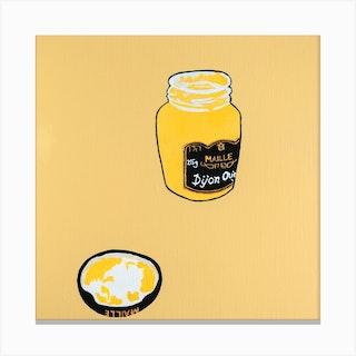 Maille Dijon Mustard Square Canvas Print