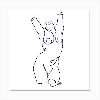 Naked 2 Square Canvas Print