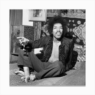 American Singer And Guitarist Jimi Hendrix Pictured At His Flat In Mayfair, London Canvas Print