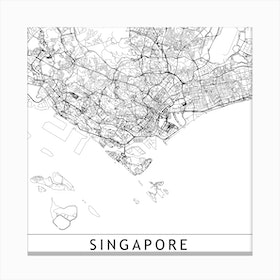 Singapore Map Canvas Print