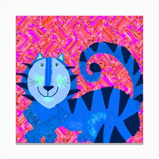 Blue Tiger Square Canvas Print
