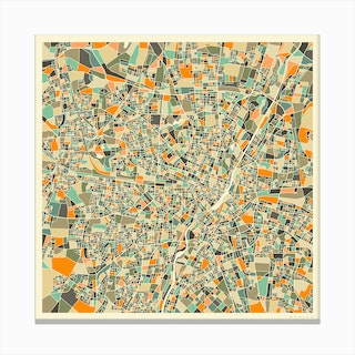 Munich Map Canvas Print